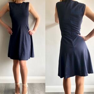 Magaschoni fit and flare navy blue midi dress